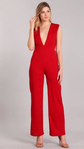 Saray Sleeveless Punging Jumpsuit - Red