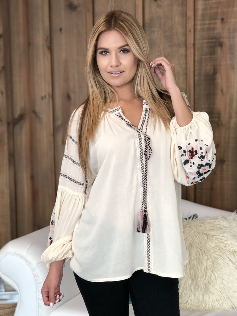 Gina Embroidered Blouse With Balloon Sleeve