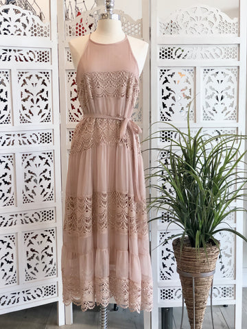 Darla Halter Lace Dress - Blush