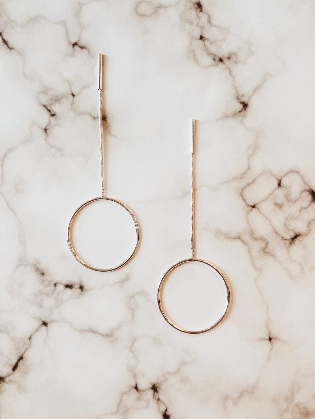 Janice Hoop Long Earrings - Gold