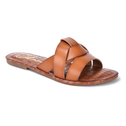Heather Braided Flat Sandal - Cognac