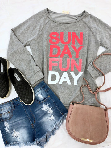"""Sunday Fun Day"" Graphic Sweatshirt - Heather Grey"