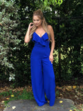Cora Ruffle Lace Detailed Jumpsuit - Royal Blue