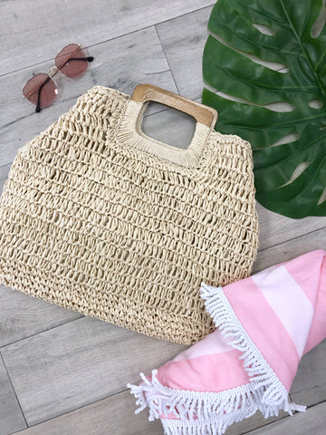 Tahiti Square Straw bag