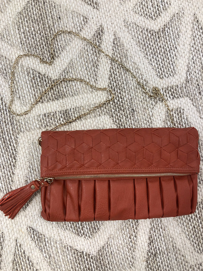 Annie Fold Over Clutch - Rust