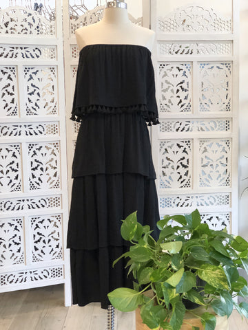 Steph Off Shoulder Layered Dress - Black