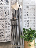 Harper Stripe Cami Maxi Dress - Black/White