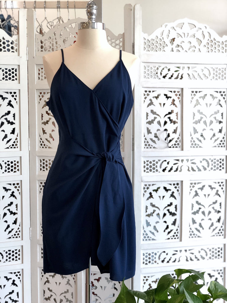 Sharon Wrap Mini Dress - Navy