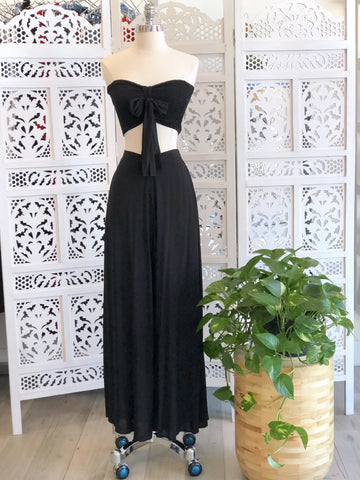 Olivia Smocked Crop Top & Palazzo Pants Set - Black