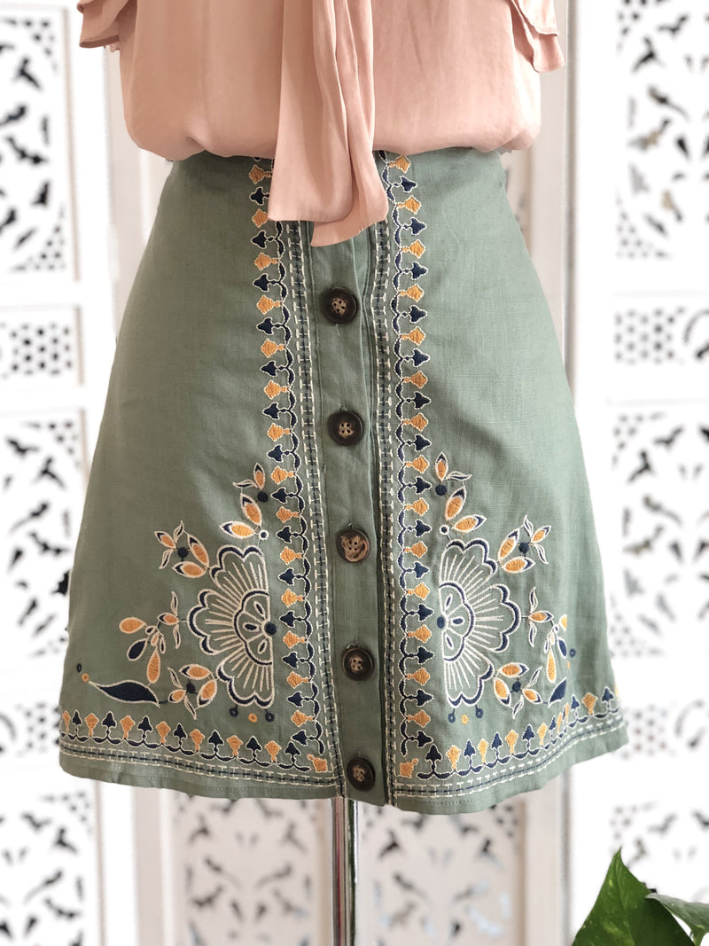 June Button Down Embroidered Skirt