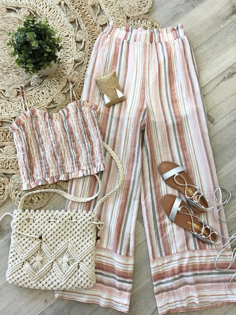 Molly Stripe Smocked Top & Matching Palazzo Pants - Peach
