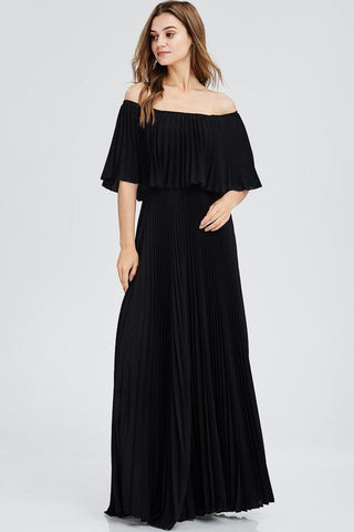 Mary Off Shoulder Pleated Maxi Dress - Black