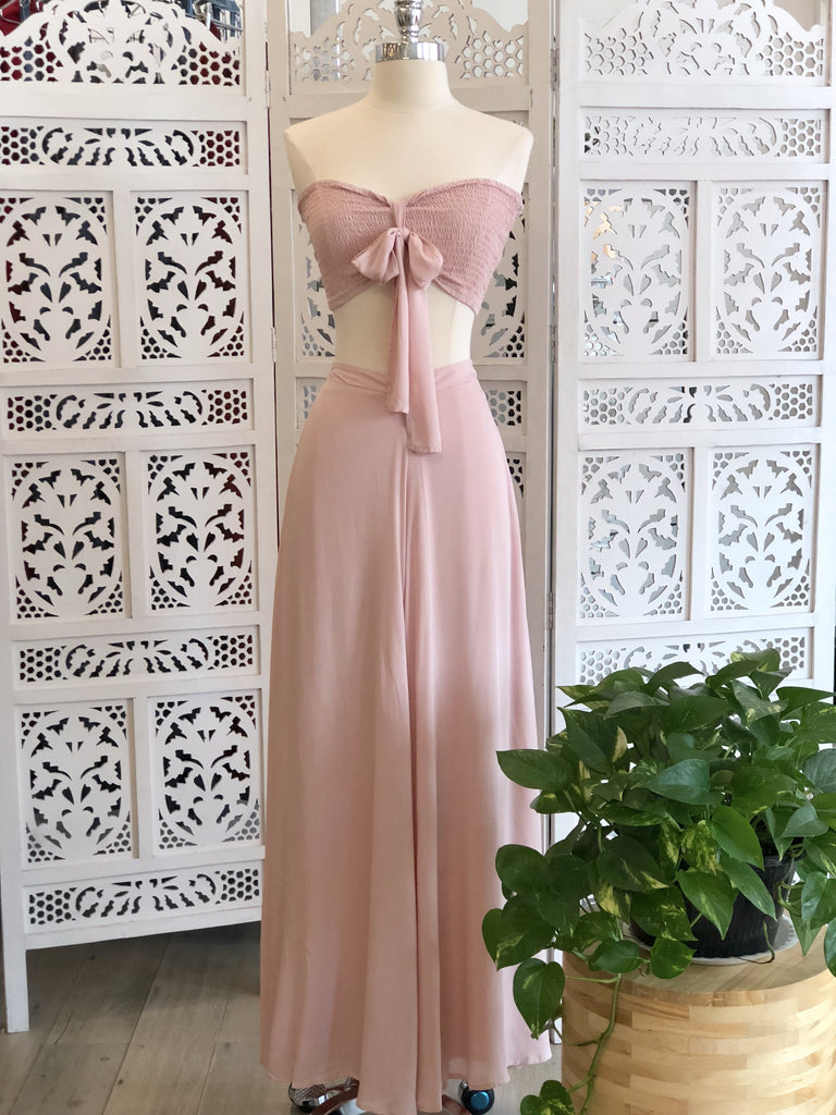 Olivia Smocked Crop Top & Palazzo Pants Set - Blush