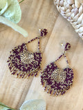 Pryianka Beaded Earrings - Plum