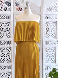 Mary Off Shoulder Pleated Maxi Dress - Mustard