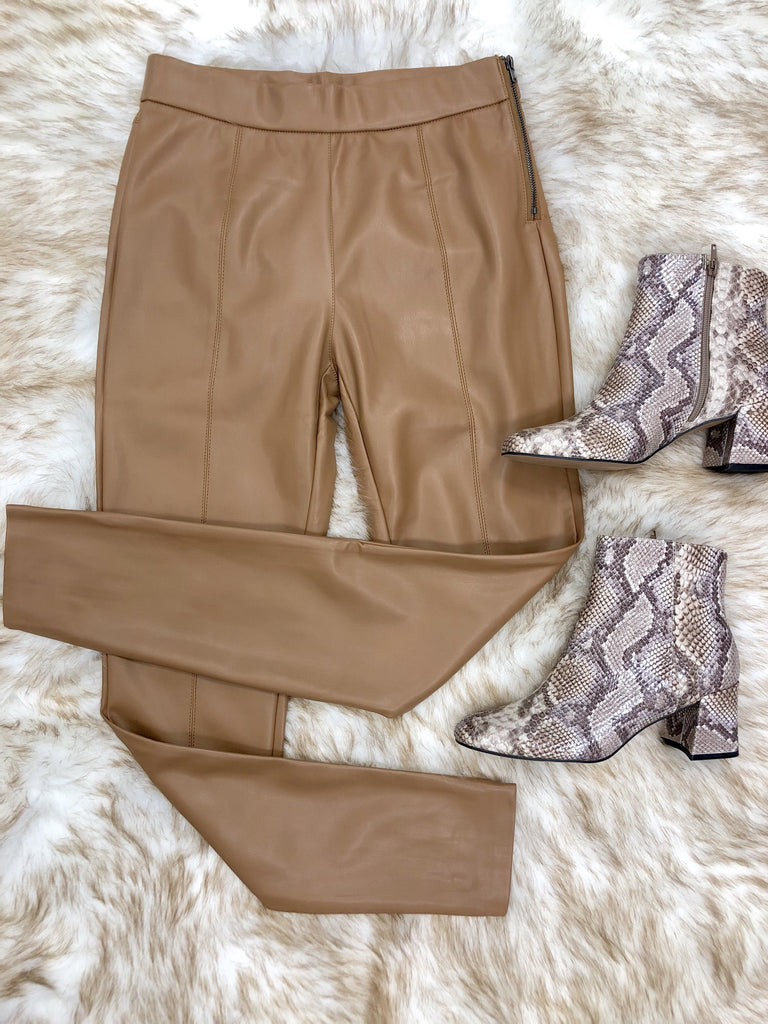 Alize Faux Leather Pants - Camel