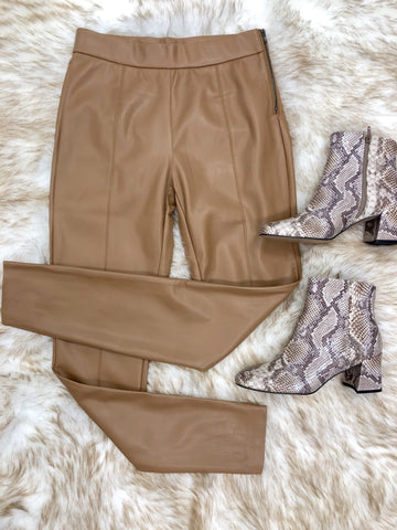Alize Faux Leather Leggings - Camel