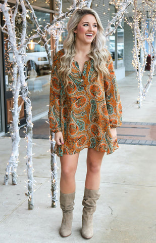 Grazzie Paisley Print Tunic Dress