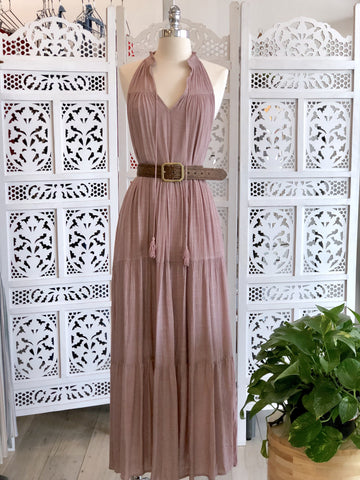 Agatha Sleeveless Boho Maxi Dress - Mauve
