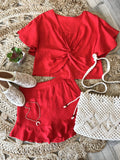 Callie Linen Twisted Top & Matching Ruffle Shorts Set - Red