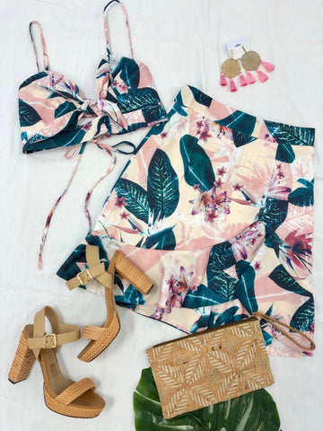 Mandy Tropical Tie Front Crop Top & Ruffle Skirt Set