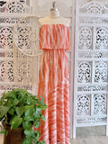 Lissette Strapless Tie Dye Maxi Dress - Coral