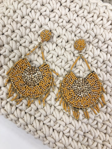 Pryianka Beaded Earrings - Mustard