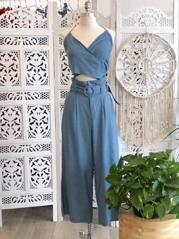 Cassie Denim Crop & Matching Pants Set