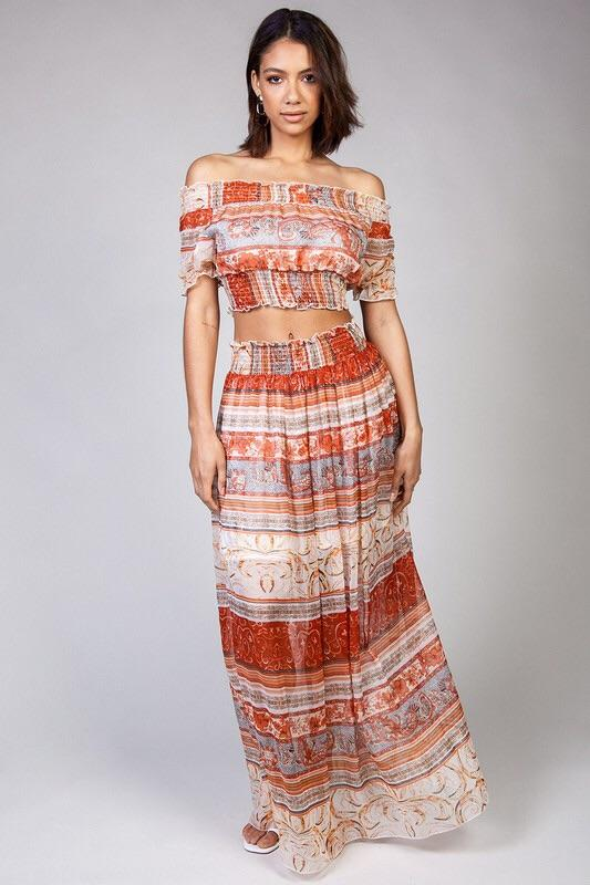 Jasmin Sheer Printed Matching Crop Top & Maxi Skirt Set