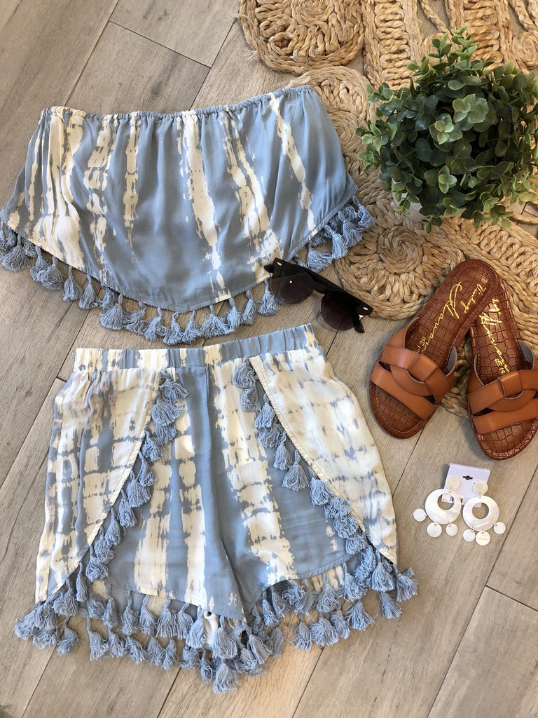 Abbie Tassel Detail Strapless Top & Shorts Set