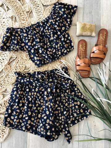 Gemma Floral Off shoulder Top & Matching Shorts Set - Navy