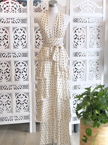 Louise Ruffle Polka Dot Maxi Dress