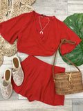 Lilly Crop Top Flowy Shorts Matching Set - Red