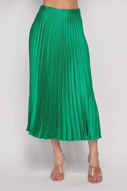 Leanne Pleated Midi Skirt - Green