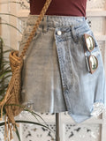 Erica Asymmetrical Denim Mini Skirt