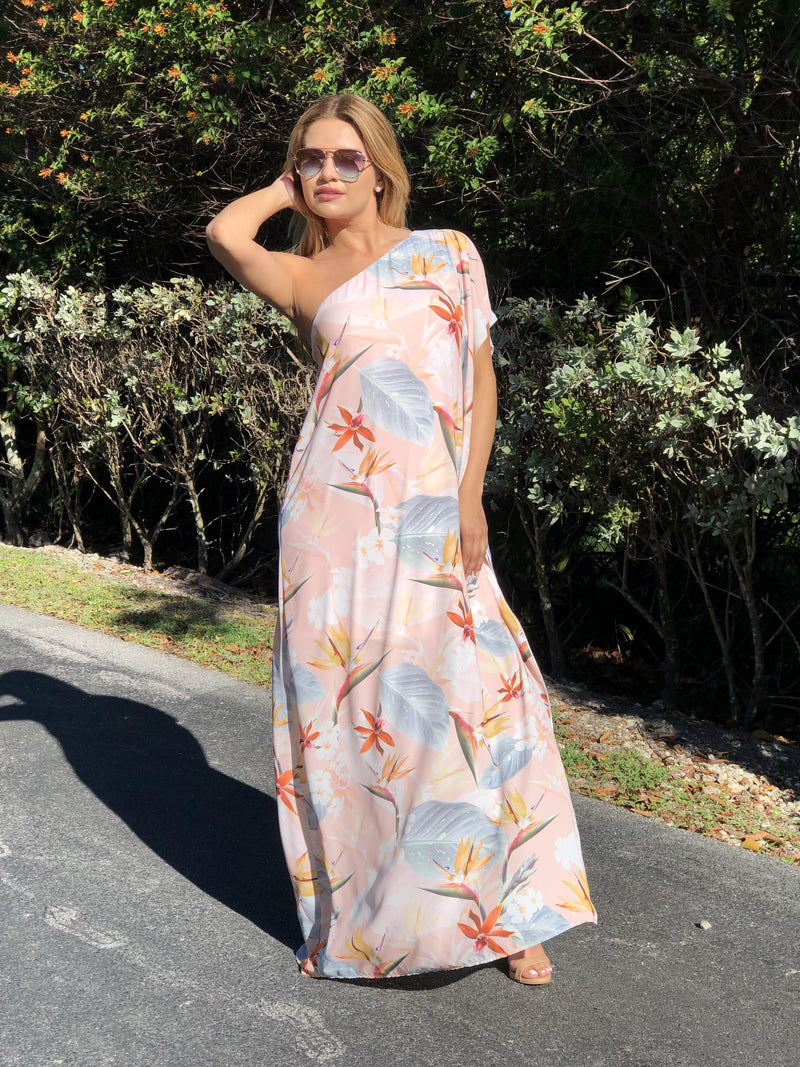 Cleo One Shoulder Tropical  Dress - Blush