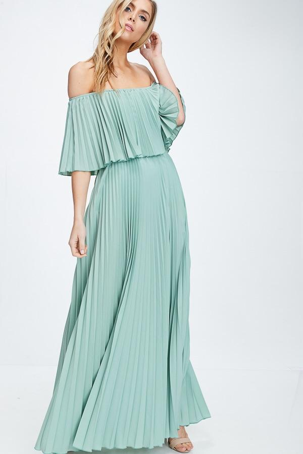 Mary Off Shoulder Pleated Maxi Dress - Sage