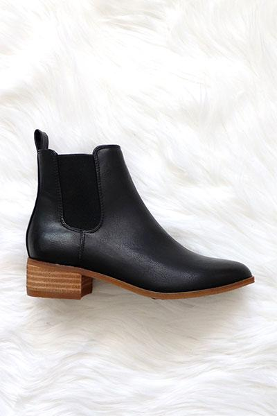 Tahlia Ankle Bootie with Low Wooden Heel - Black