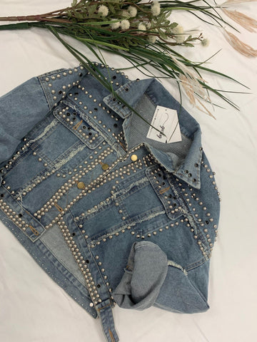 Carly Studded Cropped Denim Jacket - ORDER NOW / RESTOCKING 11/21/19