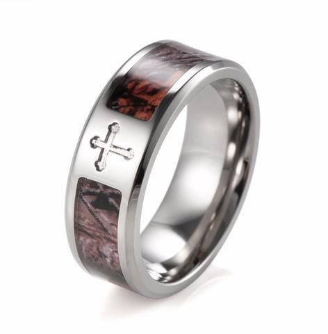 Mens Titanium With Real Tree Camo Inlay And Cross