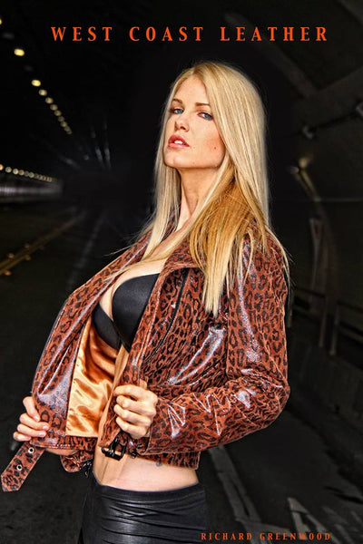 Cheetah Brown Fashion Asymmetric Biker