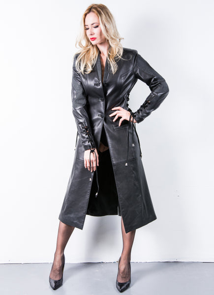 Black Leather Corset short Trench with Stingray Futuristic Lapels