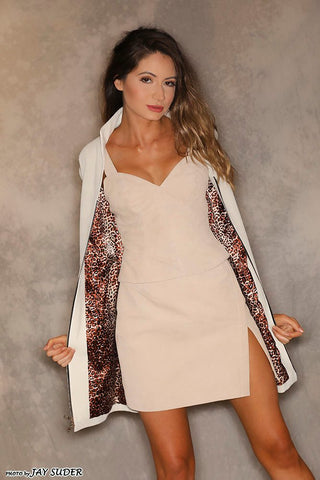 Ivory Suede Matrix Coat Dress or Ivory Leather and Suede