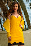 Ferrari Yellow French Lace Dress
