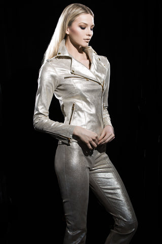 Gold Mist Stretch Leather Pant with Skinny Leg