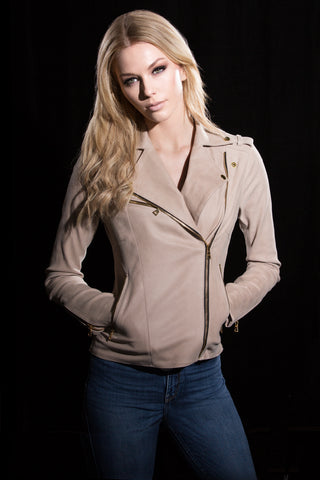 Sand Nubuck Stretch Motorcycle Jacket