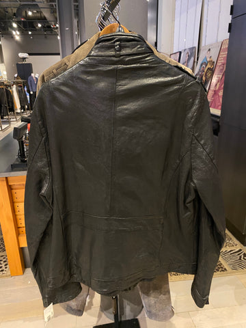 Men's Shiny Black Leather Bomber Jacket