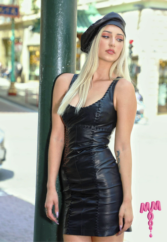 Black Leather Tank Dress with black suede hand lacing