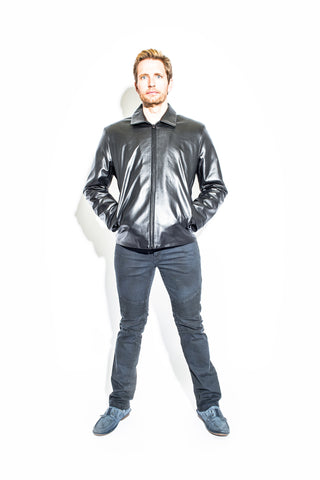 Men's Black Label Collection Clean Front Zip Jacket
