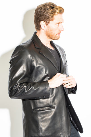 Men's Black Label Collection 3 Button Leather Blazer
